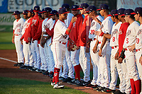Auburn Doubledays shortstop Jose Sanchez (9) during introductions before a game against the Hudson Valley Renegades on September 5, 2018 at Falcon Park in Auburn, New York.  Hudson Valley defeated Auburn 11-5.  (Mike Janes/Four Seam Images)