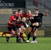 Friday 8th February 2019 | First Trust Ulster Senior Cup Final<br /> <br /> Neil Faloon is tackled by David Whann during the First Trust Ulster Senior Cup Final between Armagh and Ballymena at Kingspan Stadium, Ravenhill Park, Belfast, Northern Ireland. Photo by John Dickson / DICKSONDIGITAL