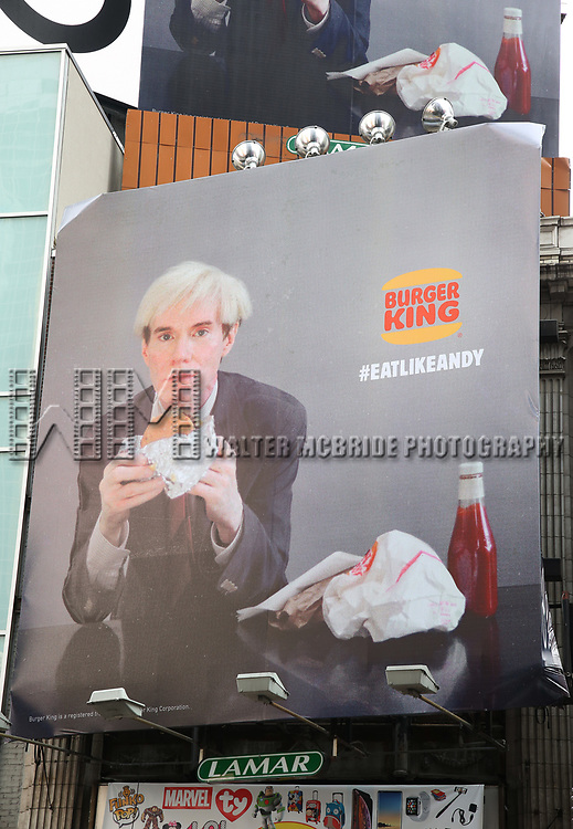 Andy Warhol eating a Whopper in a new Burger King Billboard Ad Campaign in Times Square on February 7, 2019 in New York City.