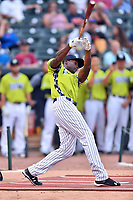 Estevan Florial of the Charleston Riverdogs swings at at a pitch during the home run derby as part of the All Star Game festivities at Spirit Communications Park on June 19, 2017 in Columbia, South Carolina. The Soldiers defeated the Celebrities 1-0. (Tony Farlow/Four Seam Images)