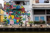 Wall Art on a Building on the Riverwalk, Melaka River, Melaka, Malaysia.