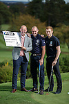 Gary McAllister with Hibernian's Liam Craig and Kris Boyd of Rangers at Glenbervie Golf Club as they look ahead to next week's Rangers v Hibs clash at Ibrox