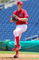 April 14, 2010 Pitcher Trevor May of the Clearwater Threshers, Florida State League Class-A affiliate of the Philadelphia Phillies, delivers a pitch during a game at Bright House Networks Field in Clearwater Fl. Photo by: Mark LoMoglio/Four Seam Images