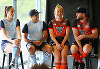 L_R: Steph Dickson, George Muir, Liz Thompson and Leon Hayward. Hockey Premier League Official Launch, Auckland Grammar Hockey Turf, Auckland, New Zealand. Photo: Simon Watts/www.bwmedia.co.nz/HockeyNZ