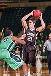 Lehigh Mountain Hawks guard Stefan Cvrkalj (21) in action during the game between the Lehigh Mountain Hawks and the North Texas Mean Green at the Super Pit arena in Denton, Texas. Lehigh defeats UNT 90 to 75...