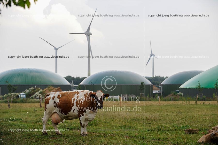GERMANY Schleswig Holstein, Wind turbine and Biogas plant / DEUTSCHLAND ,  Windrraeder und Biogasanlage zur Stromerzeugung und Waermeerzeugung