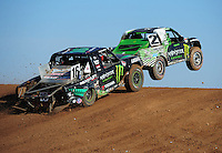 Apr 17, 2011; Surprise, AZ USA; LOORRS driver Casey Currie (2) leads Cameron Steele (16) during round 4 at Speedworld Off Road Park. Mandatory Credit: Mark J. Rebilas-