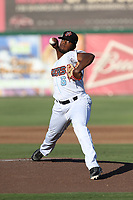 Luis Pena (6) of the Inland Empire 66ers pitches against the Rancho Cucamonga Quakes at San Manuel Stadium on July 29, 2017 in San Bernardino, California. Inland Empire defeated Rancho Cucamonga, 6-4. (Larry Goren/Four Seam Images)