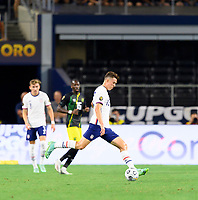 DALLAS, TX - JULY 25: Matthew Hoppe #13 of the United States passes the ball to a teammate during a game between Jamaica and USMNT at AT&T Stadium on July 25, 2021 in Dallas, Texas.