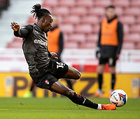 31st October 2020; Bet365 Stadium, Stoke, Staffordshire, England; English Football League Championship Football, Stoke City versus Rotherham United; Freddie Ladapo of Rotherham United takes a shot on goal