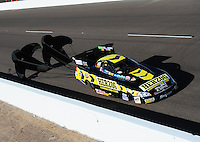 Oct. 15, 2011; Chandler, AZ, USA; NHRA funny car driver Tony Pedregon during qualifying at the Arizona Nationals at Firebird International Raceway. Mandatory Credit: Mark J. Rebilas-