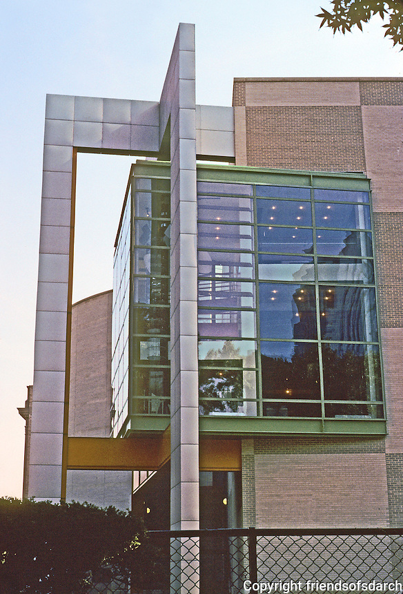 """Philadelphia: Franklin Institute's Mandell Futures Center, 1990. Bay window, western end. Note that the """"projecting window & struts are angled slightly"""", a la Peter Eisenman.  Progressive Arch., Sept. '90.  Photo '91."""