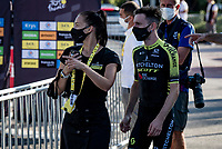 Adam Yates (GBR/Mitchelton-Scott) is brought to the podium (from the teambus) after being promoted to the yellow jersey/overall leader as Julian Alaphilippe was fined 20 seconds after an irregular race feed.<br /> <br /> Stage 5 from Gap to Privas (183km)<br /> <br /> 107th Tour de France 2020 (2.UWT)<br /> (the 'postponed edition' held in september)<br /> <br /> ©kramon