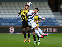 Kiko Femenia of Watford and Ilias Chair of Queens Park Rangers go up for a header during Queens Park Rangers vs Watford, Sky Bet EFL Championship Football at The Kiyan Prince Foundation Stadium on 21st November 2020