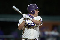 Trevor Jones (40) of the Western Carolina Catamounts at bat against the St. John's Red Storm at Childress Field on March 13, 2021 in Cullowhee, North Carolina. (Brian Westerholt/Four Seam Images)
