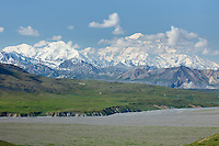 Mt. McKinley and the Alaska Range with river and tundra.