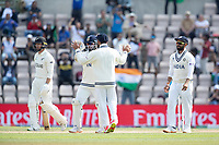 Rishabh Pant, India and Virat Kohli, India celebrate the wicket of Devon Conway, New Zealand during India vs New Zealand, ICC World Test Championship Final Cricket at The Hampshire Bowl on 23rd June 2021