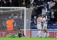 Jose Salomon Rondon of West Bromwich Albion celebrates scoring a late equaliser 1-1 during the Barclays Premier League match between West Bromwich Albion and Swansea City at The Hawthorns on the 2nd of February 2016