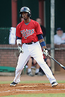 Elizabethton Twins shortstop Niko Goodrum #15 swings at a pitch during a game against the Bristol White Sox at Joe O'Brien Field on June 25, 2012 in Elizabethton, Tennessee. The Twins defeated the White Sox 9-1. (Tony Farlow/Four Seam Images).
