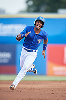 Dunedin Blue Jays center fielder Joshua Palacios (7) runs the bases during a game against the Jupiter Hammerheads on August 14, 2018 at Dunedin Stadium in Dunedin, Florida.  Jupiter defeated Dunedin 5-4 in 10 innings.  (Mike Janes/Four Seam Images)