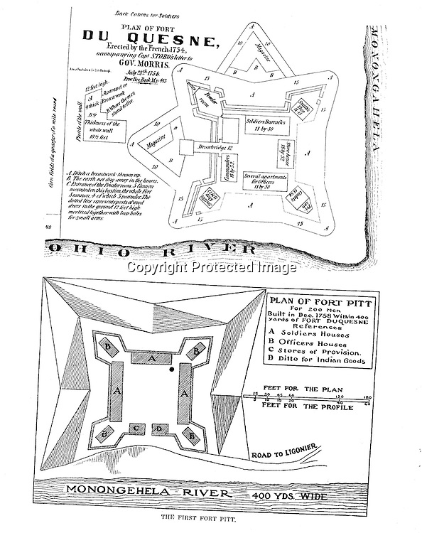 The 1750s - Diagrams of Fort Duquesne and Fort Pitt. Diagrams were included in the Blockhouse during the 1948 on-location assignment for AG Trimble Company.