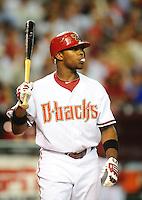 Jun. 21, 2010; Phoenix, AZ, USA; Arizona Diamondbacks outfielder Justin Upton against the New York Yankees at Chase Field. Mandatory Credit: Mark J. Rebilas-