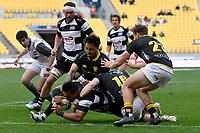 Ash Dixon of Hawkes Bay scores a try during the Bunnings NPC - Wellington v Hawke's Bay at Sky Stadium, Wellington, New Zealand on Sunday 26 September 2021.<br /> Photo by Masanori Udagawa. <br /> www.photowellington.photoshelter.com