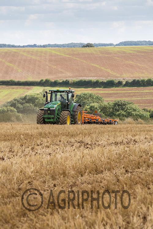 John Deere working a 6.6m samba cultipress on wheat stubble<br /> Picture Tim Scrivener 07850 303986