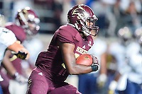 Texas State running back Terrence Franks (20) rushes with the ball during NCAA Football game, Saturday, September 13, 2014 in San Marcos, Tex. Navy defeated Texas State 35-21.(Mo Khursheed/TFV Media via AP Images)