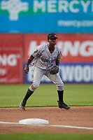 Hudson Valley Renegades third baseman Luis Arcendo (13) during a NY-Penn League game against the Mahoning Valley Scrappers on July 15, 2019 at Eastwood Field in Niles, Ohio.  Mahoning Valley defeated Hudson Valley 6-5.  (Mike Janes/Four Seam Images)
