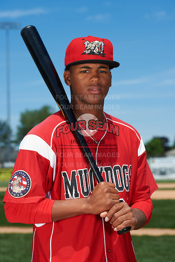 Batavia Muckdogs infielder Garvic Lara (34) poses for a photo before the teams first practice on June 15, 2016 at Dwyer Stadium in Batavia, New York.  (Mike Janes/Four Seam Images)