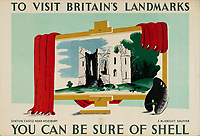BNPS.co.uk (01202 558833)<br /> Pic: Lyon&Turnbull/BNPS<br /> <br /> Pictured: A poster featuring Dinton Castle near Aylesbury will be up for auction<br /> <br /> A vast collection of vintage Shell posters have sold at auction for almost £60,000.<br /> <br /> The group of 49 sheets were sold directly from the oil giant's archives and featured some incredibly rare designs from down the years.<br /> <br /> All of the posters had previously been used in Shell advertising campaigns, dating back to between the 1920s and 1950s.<br /> <br /> Many of the colourful designed featured the slogan 'You can be sure of Shell' and list people who preferred their fuel.
