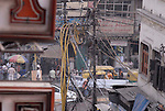 Wire junction in the Paharganj district of New Delhi, India.