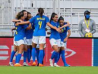 ORLANDO, FL - FEBRUARY 24: Debinha #9 of Brazil celebrates during a game between Brazil and Canada at Exploria Stadium on February 24, 2021 in Orlando, Florida.
