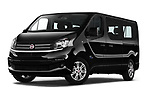 Stock pictures of low aggressive front three quarter view of 2018 Fiat Talento-Combi Panorama Door Passenger Van Low Aggressive