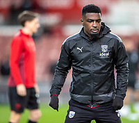 1st October 2021;  Bet365 Stadium, Stoke, Staffordshire, England; EFL Championship football, Stoke City versus West Bromwich Albion; Cedric Kipre of West Bromwich Albion during the warm up