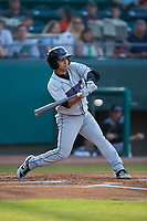 Nick Madrigal (3) of the Winston-Salem Dash at bat against the Down East Wood Ducks at Grainger Stadium Field on May 17, 2019 in Kinston, North Carolina. The Dash defeated the Wood Ducks 8-2. (Brian Westerholt/Four Seam Images)