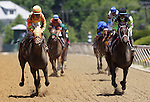 Super Espresso (left), Ramon Dominguez up, wins the 19th running of the Allaire Dupont Distaff Stakes (gr. 3) on May 21, 2011 at Pimlico Race Course, Baltimore, MD. Payton d'Oro (right) Gabriel Saez up, is second. Both fillies are by Medaglia d'Oro (Photo by Joan Fairman Kanes/Eclipse Sportswire)