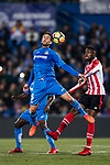 Markel Bergara Larranaga of Getafe CF (L) fights for the ball with Inaki Williams Arthuer of Athletic Club de Bilbao (R) during the La Liga 2017-18 match between Getafe CF and Athletic Club at Coliseum Alfonso Perez on 19 January 2018 in Madrid, Spain. Photo by Diego Gonzalez / Power Sport Images