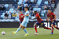 SAINT PAUL, MN - APRIL 24: Michael Boxall #15 of Minnesota United FC passes the ball during a game between Real Salt Lake and Minnesota United FC at Allianz Field on April 24, 2021 in Saint Paul, Minnesota.