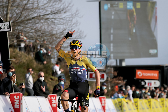 Slovenian Champion Primoz Roglic (SLO) Team Jumbo-Visma wins solo Stage 4 of Paris-Nice 2021, running 187.5km from Chalon-sur-Saone to Chiroubles, France. 10th March 2021.<br /> Picture: ASO/Fabien Boukla | Cyclefile<br /> <br /> All photos usage must carry mandatory copyright credit (© Cyclefile | ASO/Fabien Boukla)