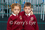 Twins Sara and Alrazzouk Yossef enjoying their first day in junior infants in Moyderwell NS on Wednesday