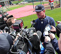 Scranton Wilkes-Barre Yankees manager Dave Miley gives an on-field interview before batting practice at Frontier Field on April 3, 2012 in Rochester, New York.  Scranton will be based out of Rochester during the 2012 season known as the Empire State Yankees as their home stadium is renovated.  (Mike Janes/Four Seam Images)