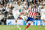 Real Madrid's Fabio Coentrao (l) and Atletico de Madrid's Raul Garcia during Champions League 2014/2015 Quarter-finals 2nd leg match.April 22,2015. (ALTERPHOTOS/Acero)