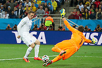 Wayne Rooney of England scores a goal to make it 1-1