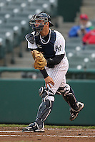 Trenton Thunder catcher Austin Romine #16 during a game against the Portland Sea Dogs at Waterfront Park on May 4, 2011 in Trenton, New Jersey.  Trenton defeated Portland by the score of 7-1.  Photo By Mike Janes/Four Seam Images