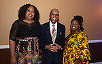 WATERBURY ,  CT-101219JS36-  NAACP Branch President Ginne-Rae Clay, left, with 2019 President Award recipient, Judge Maurice Mosley and Alicia Pittman at the NAACP of Greater Waterbury's 55th annual Mind Body and Soul Freedom Fund Dinner held Saturday at the Courtyard Marriott in Waterbury. <br />  Jim Shannon Republican-American