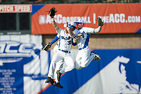 (L-R) Duke Blue Devils outfielders Jimmy Herron (30), Kennie Taylor (15), and Griffin Conine (9) celebrate their win over the Virginia Cavaliers in Game Seven of the 2017 ACC Baseball Championship at Louisville Slugger Field on May 25, 2017 in Louisville, Kentucky.  The Blue Devils defeated the Cavaliers 4-3 to advance to the Semi-Finals. (Brian Westerholt/Four Seam Images)