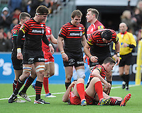 20130303 Copyright onEdition 2013©.Free for editorial use image, please credit: onEdition..Joel Tomkins of Saracens (seated) is congratulated by team mates after scoring a try during the Premiership Rugby match between Saracens and London Welsh at Allianz Park on Sunday 3rd March 2013 (Photo by Rob Munro)..For press contacts contact: Sam Feasey at brandRapport on M: +44 (0)7717 757114 E: SFeasey@brand-rapport.com..If you require a higher resolution image or you have any other onEdition photographic enquiries, please contact onEdition on 0845 900 2 900 or email info@onEdition.com.This image is copyright onEdition 2013©..This image has been supplied by onEdition and must be credited onEdition. The author is asserting his full Moral rights in relation to the publication of this image. Rights for onward transmission of any image or file is not granted or implied. Changing or deleting Copyright information is illegal as specified in the Copyright, Design and Patents Act 1988. If you are in any way unsure of your right to publish this image please contact onEdition on 0845 900 2 900 or email info@onEdition.com