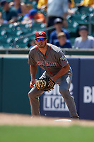 Lehigh Valley IronPigs first baseman Damek Tomscha (13) during an International League game against the Buffalo Bisons on June 9, 2019 at Sahlen Field in Buffalo, New York.  Lehigh Valley defeated Buffalo 7-6 in 11 innings.  (Mike Janes/Four Seam Images)